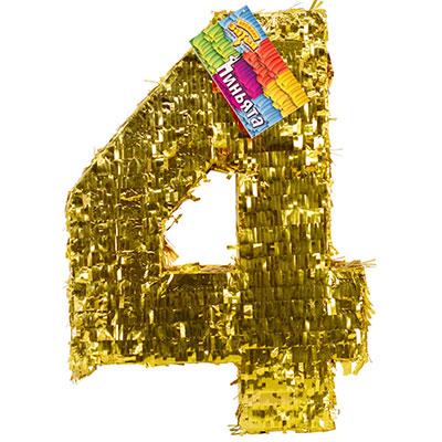 Пиньята Цифра 4 Золото 35 х 8 х 50 см