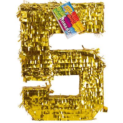Пиньята Цифра 5 Золото 35 х 8 х 50 см