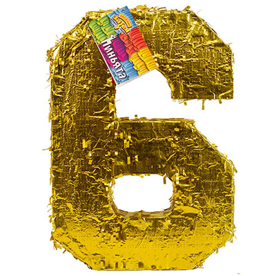 Пиньята Цифра 6 Золото 35 х 8 х 50 см