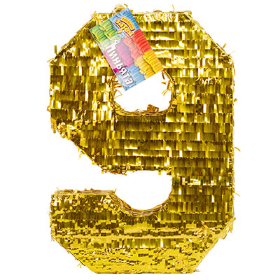 Пиньята Цифра 9 Золото 35 х 8 х 50 см