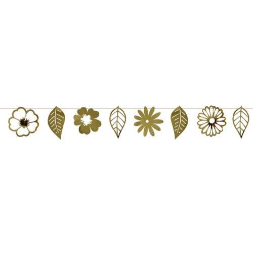 Праздничная гирлянда Цветы и листья золото 300 см