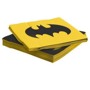 Салфетки 33 см х 33 см Бэтмен Желтый Черный 12 штук