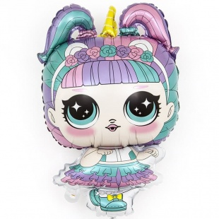 Шар 33 см Мини-фигура Модная кукла ободок-единорог