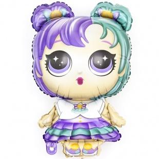 Шар 33 см Мини-фигура Модная кукла разноцветные локоны