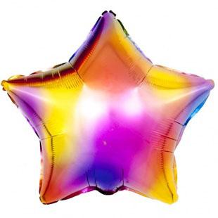 Шар 46 см Звезда Радужные блики Разноцветный Градиент