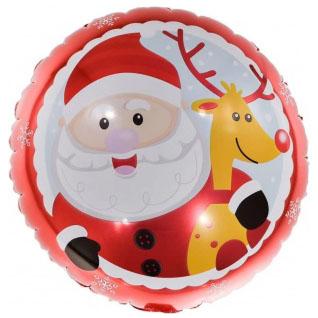 Шар 46 см Круг Веселый Дед Мороз с оленем Красный