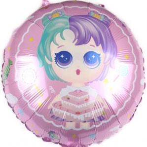 Шар 46 см Круг Модная кукла разноцветные локоны Нежно-розовый