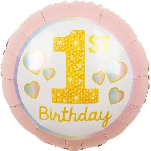 Шар 46 см Круг 1-ый День Рождения Девочки радужные сердечки Розовый