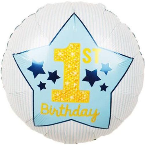 Шар 46 см Круг 1-ый День Рождения Мальчика звезды Голубой