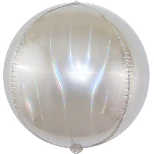 Шар 61 см Сфера Светлое серебро Голография