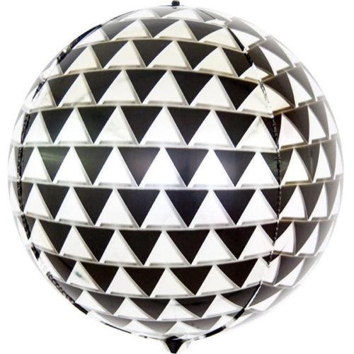 Шар 61 см Сфера 3D Геометрия треугольников Черный Серебро