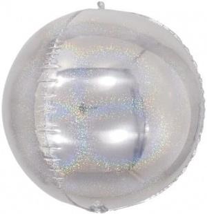Шар 61 см Сфера 3D Серебро Голография