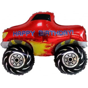 Шар 76 см Фигура С Днем Рождения Пикап Монстр-Трак Красный