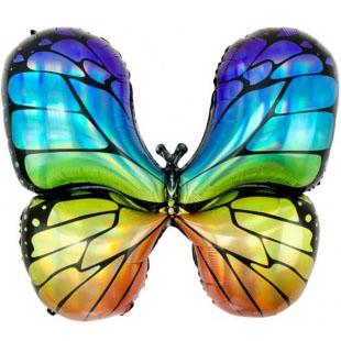 Шар 79 см Фигура Радужная бабочка Голография