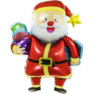 Шар 94 см Фигура Веселый Дед Мороз с подарками