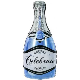 Шар 99 см Фигура Бутылка Шампанское Голубой
