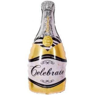 Шар 99 см Фигура Бутылка Шампанское Золото