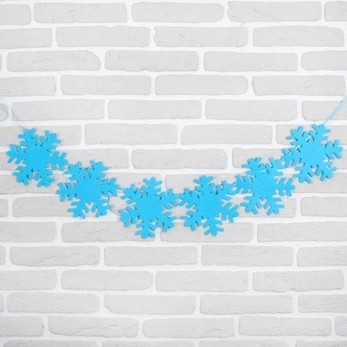 Гирлянда Снежинки цвет голубой 100 см
