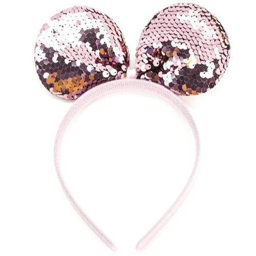 Ободок Бант Мышка Розовый с блестками