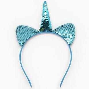 Ободок Ушки Единорог Голубой с блестками