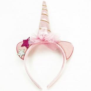 Ободок Ушки Звездный единорог Розовый