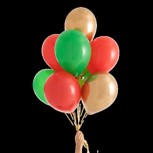 Связка из воздушных шаров Красный Зеленый и Золото Хром