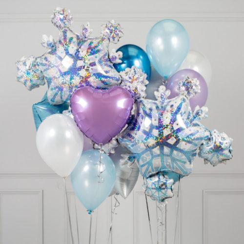 Связка из шаров Ассорти Снежинки и Голубой Сиреневый Белый и Серебро