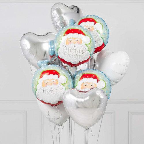 Связка из шаров Дед Мороз и Сердца