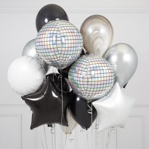 Связка из шаров Диско и Звезды Белый Черный Серебро