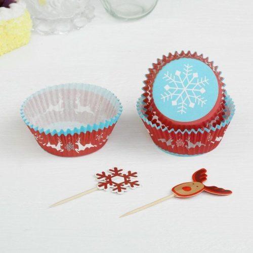 Украшение для кексов Снежинки и олени набор 24 пики и 24 формочки
