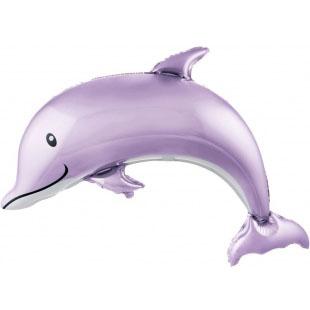 Шар 117 см Фигура Счастливый дельфин Сиреневый