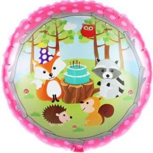 Шар 46 см Круг Лесные животные Розовый