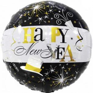 Шар 46 см Круг С Новым Годом брызги шампанского Черный Белый