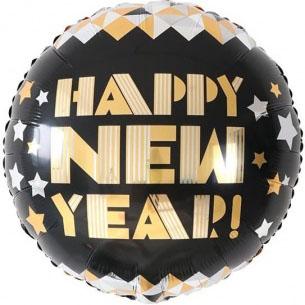 Шар 46 см Круг С Новым Годом звездное диско Черный