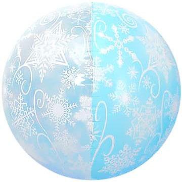 Шар 56 см Сфера 3D Снежинки Голубой Прозрачный