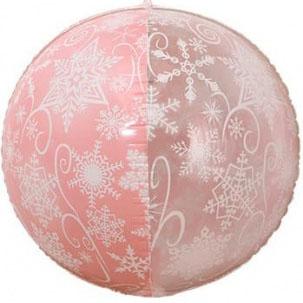 Шар 56 см Сфера 3D Снежинки Розовый Прозрачный