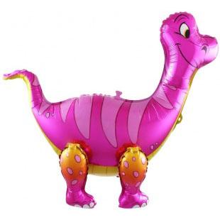 Шар 71 см Ходячая Фигура Брахиозавр Розовый