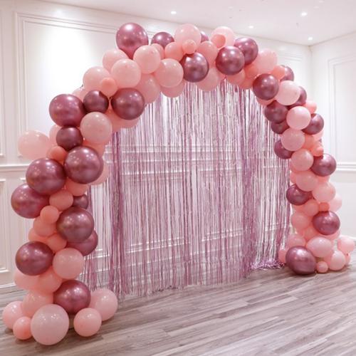 Арка из шаров для украшения Розовый с Занавесом Дождик