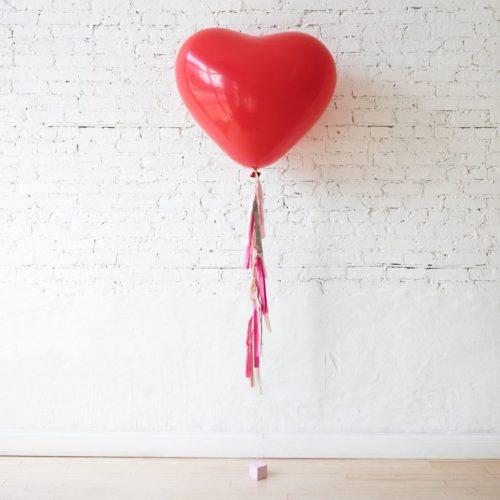 Большой шар с гирляндой Тассел сердце Красный