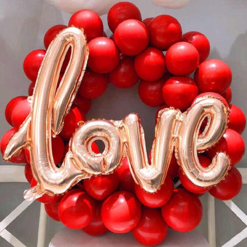 Венок из шаров Любовь Бордо и Золото