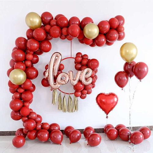 Комплект из шаров для украшения Любовь Бордо и Золото