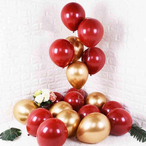 Комплект из шаров для украшения Связка и шары на пол Бордо и Золото Хром
