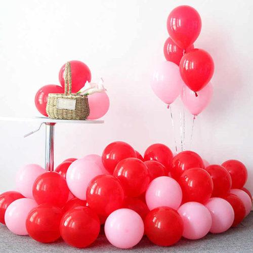 Комплект из шаров для украшения Связка и шары на пол Красный и Розовый
