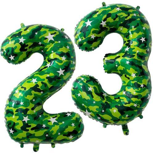 Набор шаров - цифр 86 см Надпись 23 Февраля Камуфляж с воздухом