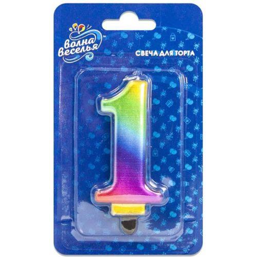 Свеча Цифра 1 Радужный 8 см 1 штука