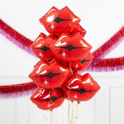 Связка из шаров Губы 9 поцелуев
