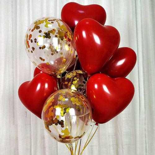 Связка из 10 шаров Сердца и шары с Конфетти Золото