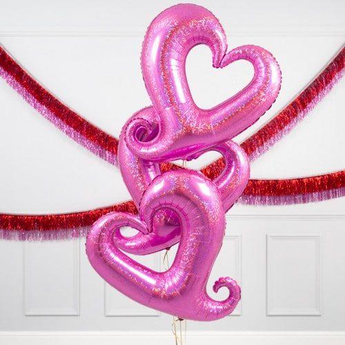 Связка из 3 шаров Сердца вензель Розовый