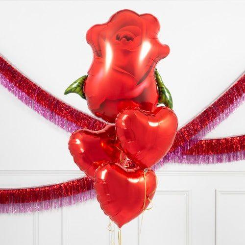 Связка из 4 шаров роза и сердца