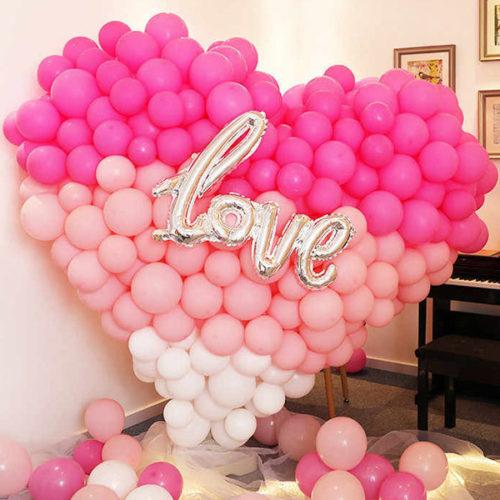 Сердце из шаров Большая Любовь с Надписью Градиент